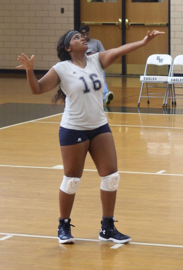 "Athena Bass, 12, prepares to serve the ball against Chatham High School Aug. 27. The varsity team went 0-3 with the Chatham Cavaliers, but played with effort and strength. ""This is my fourth year playing for this team, and I love it and the sport,"" Bass said."